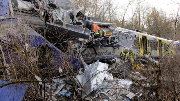 Rescue workers at the scene of the collision in southern Germany.