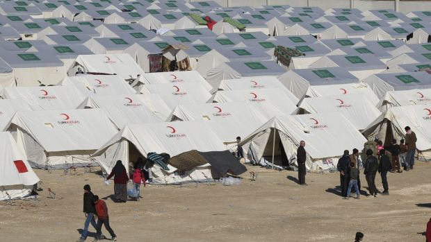 A temporary refugee camp in northern Syria, near the Bab al-Salameh border crossing with Turkey.