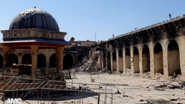 The remain's of Aleppo's 12th century Umayyad mosque.