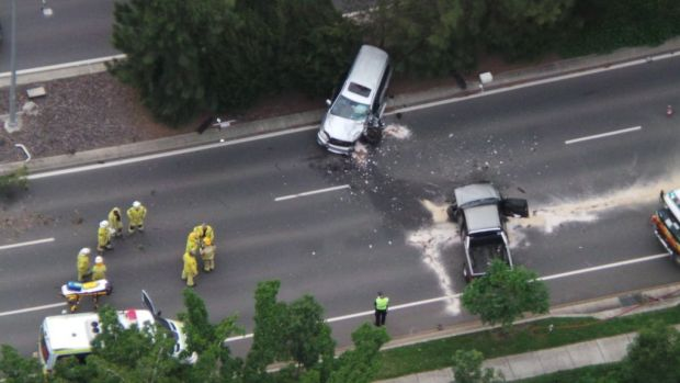 Two people have been injured in a head-on collision in Brisbane's north.
