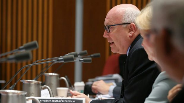 Attorney-General George Brandis during an estimates hearing at Parliament House.