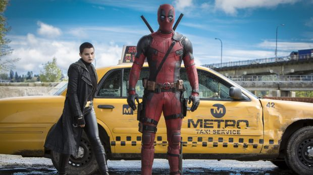 "Morena Baccarin, left  and Ryan Reynolds in ""Deadpool""."