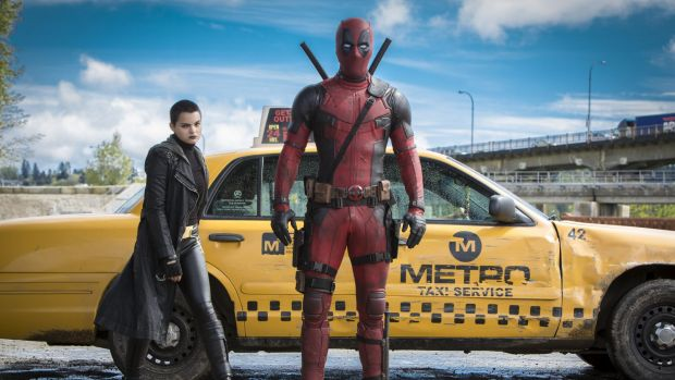 Brianna Hildebrand as Negasonic Teenage Warhead with Ryan Reynolds as Deadpool.