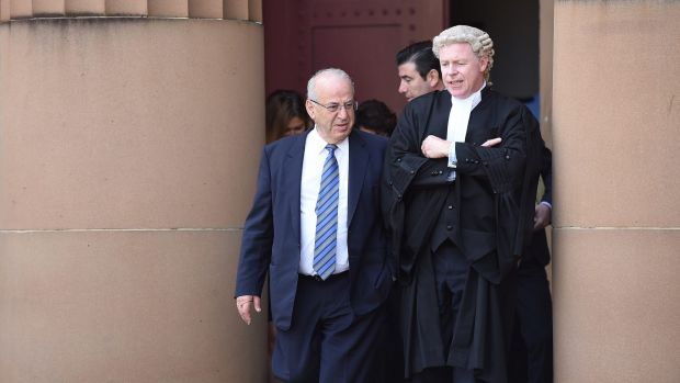 Former Labor minister Eddie Obeid, left, and junior counsel Jeffrey Tunks leave the Supreme Court during a break on the ...