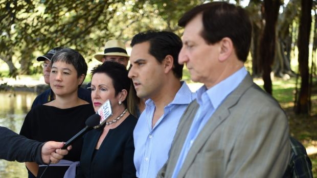 Jenny Leong, Clover Moore, Alex Greenwich and Ron Hoenig speak against any plan to build a stadium on Kippax Lake.