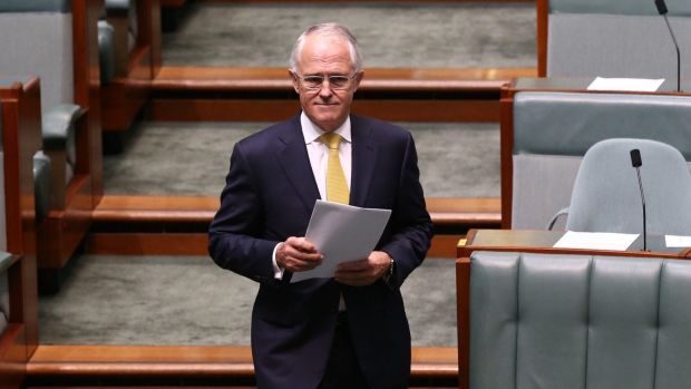 Prime Minister Malcolm Turnbull arrives to deliver his Closing the Gap speech.