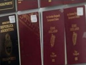 Some of the fake passports displayed by Thai police.