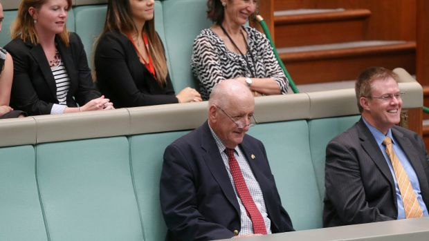 Former deputy prime minister Tim Fischer in question time on Wednesday.
