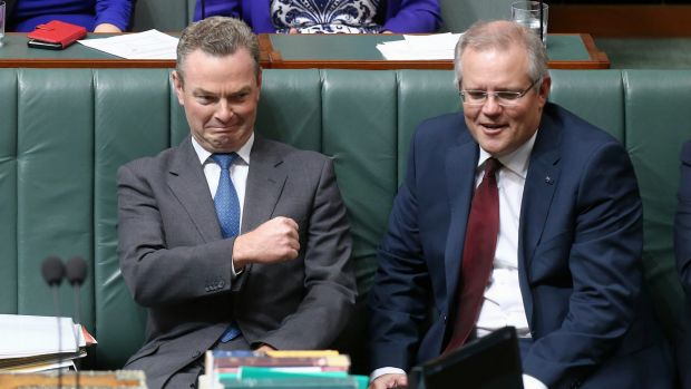 Innovation Minister Christopher Pyne and Treasurer Scott Morrison during question time on Wednesday.