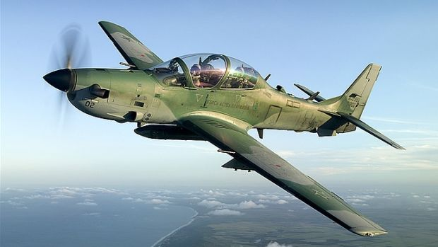 A Super Tucano aircraft made by Brazilian Embraer and used by several nations.