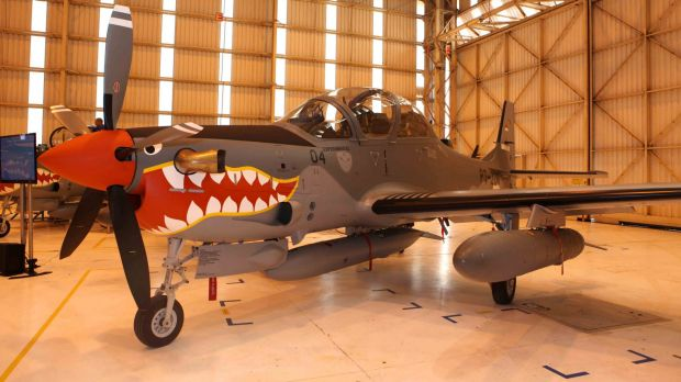 One of four light attack and tactical training A-29 Super Tucano aircraft delivered to Indonesia's Air Force in 2012.