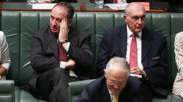Prime Minister Malcolm Turnbull, Agriculture Minister Barnaby Joyce and Deputy Prime Minister Warren Truss during ...