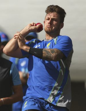 Ready for the Kiwis: James Pattinson worked up some lively pace in the nets at the Basin Reserve on Wednesday.
