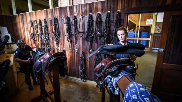 The tack room of the 104-year-old Victoria Police Mounted Branch stables in Southbank,which will close on March 2.