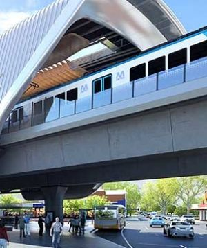 An artist's impression of a proposed sky rail station.