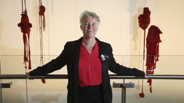 Murray Art Musem Albury director Jacqui Hemsley with contemporary works in the new gallery.