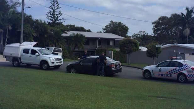 Police search for three people after a stolen car was dumped on the Sunshine Coast.