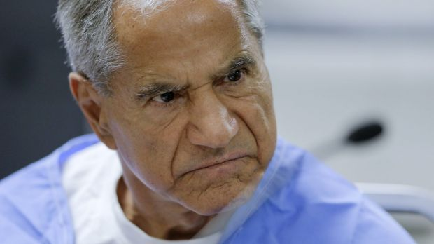 Sirhan Sirhan reacts during a parole hearing on Wednesday.
