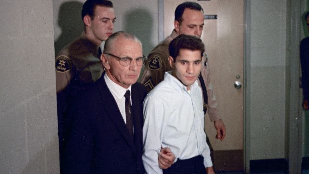 Sirhan Sirhan, right, accused assassin of US Senator Robert F. Kennedy with his attorney Russell Parsons in Los Angeles ...
