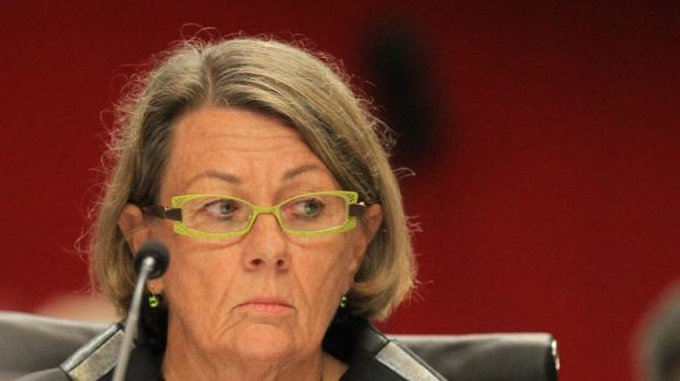 ICAC chief Megan Latham addresses a NSW parliamentary inquiry on Thursday.