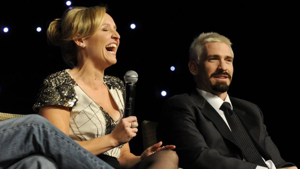 Fifi Box and Jason Akermanis at a Shane Warne Foundation luncheon at Crown Casino in 2010.