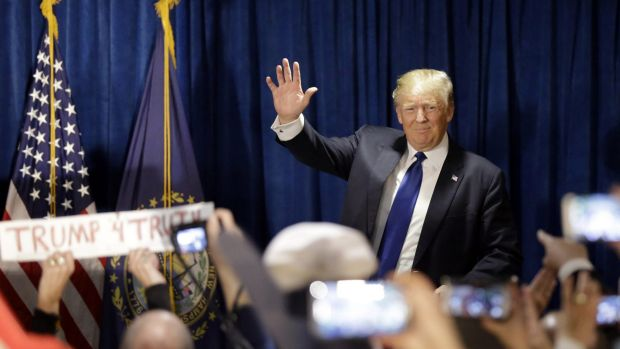 Donald Trump speaks to supporters at a rally in New Hampshire.