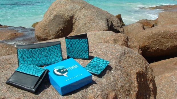 The company sells small items ranging from fish leather bookmarks, purses and handbags.