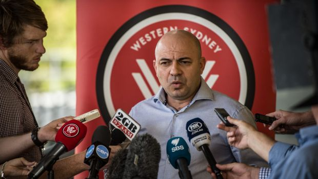 Not happy: Western Sydney Wanderers CEO John Tsatsimas addresses the media in response to the FFA's sanction and $50,000 ...