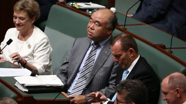 Liberal MP Ian Goodenough and former prime minister Tony Abbott during a division in the House of Representatives on ...