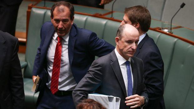 Human Services Minister Stuart Robert and Liberal MP Mal Brough depart the chamber after a division in the House of ...