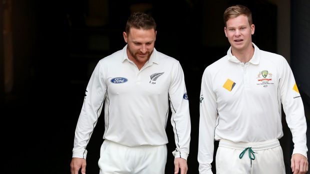 Skippers: Brendon McCullum (left) and Steve Smith will go head to head from Friday.