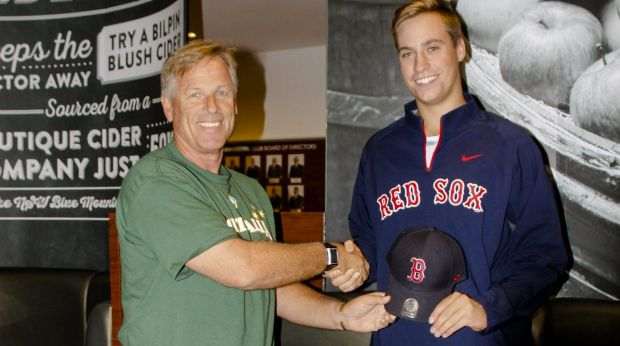 Heading Stateside: Australian baseball coach and Boston Red Sox scout Jon Deeble welcomes Canberra pitcher Brad Inglis ...