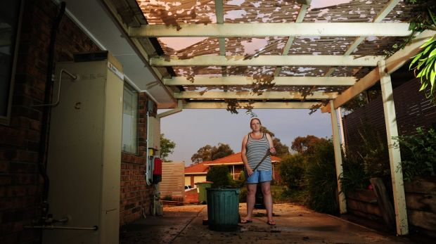 Kristel Shelley's home in Queanbeyan was significantly damaged by the hail storm on Thursday night.