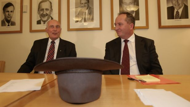 If the hat fits... outgoing Deputy Prime Minister Warren Truss and his replacement Barnaby Joyce.