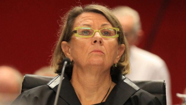 Current ICAC chief Megan Latham before the parliamentary committee on Thursday.