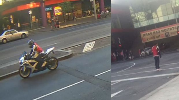 Images of the motorbike rider police wish to speak to.