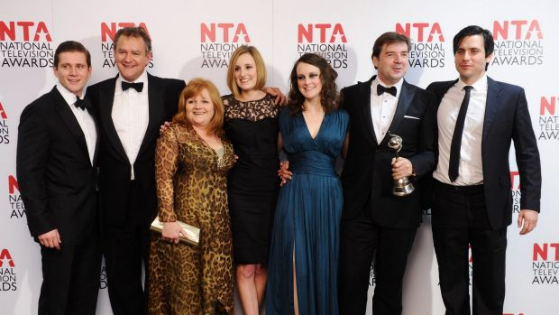 Brendan Coyle (second from R) with the cast of <i>Downton Abbey</i> at the National Television Awards 2012 on January 25 ...