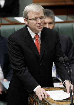 Kevin Rudd delivers the apology in 2008.
