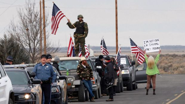 Anti-government demonstrators gather at the Narrows roadblock near the Malheur National Wildlife Refuge on Thursday.