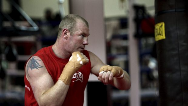 Former AFL star-turned boxer  Barry Hall trained with Paul Fyfield.