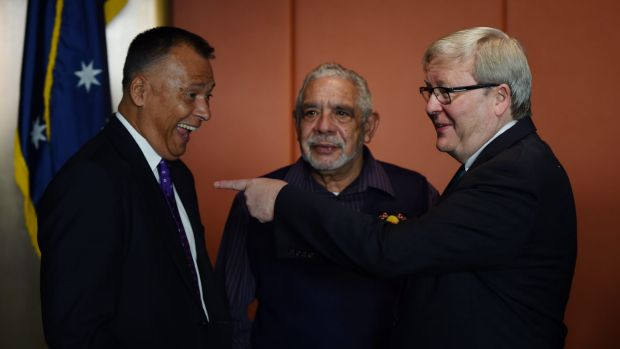 Former Prime Minister Kevin Rudd (right) speaking with journalist Stan Grant (left) and Aboriginal elder Uncle Allen ...