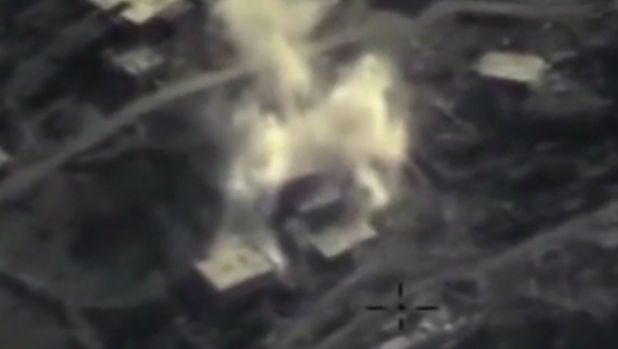 An aerial image shows a Russian air strike on a militant base in the province of Latakia, Syria.