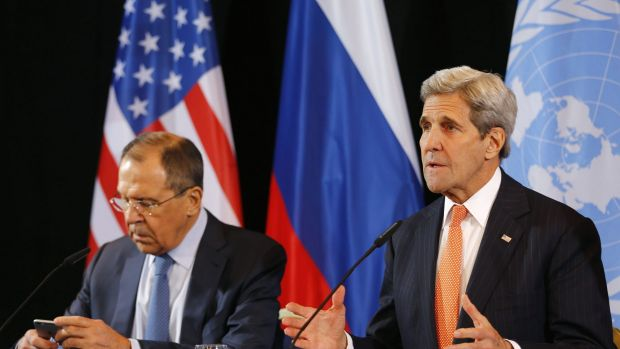 US Secretary of State John Kerry, right, and Russian Foreign Minister Sergey Lavrov at a news conference after the ...