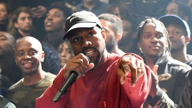 Kanye West addressing the crowds at the album launch.