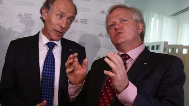 Chief Scientist Alan Finkel and astronomer turned ANU vice-chancellor Brian Schmidt celebrate the detection of ...