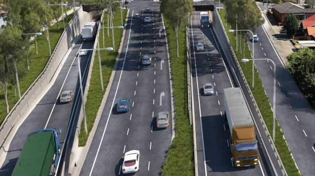An artist's impression of WestConnex entry and exit in Haberfield.
