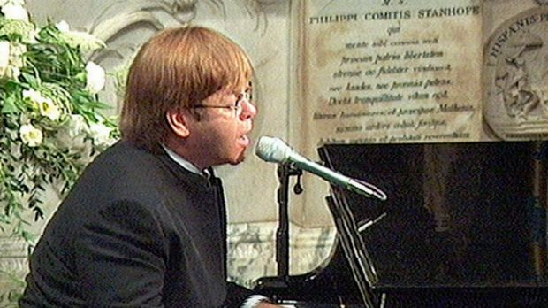 Elton John sings <i>Candle in the Wind</i> at the 1997 funeral of Diana, Princess of Wales.