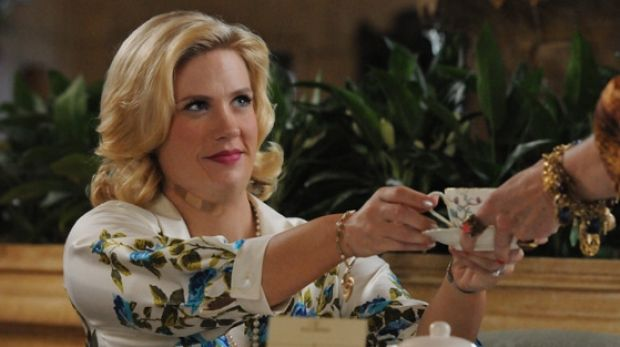 January Jones on Mad Men had to wear a fat suit when she fell pregnant.