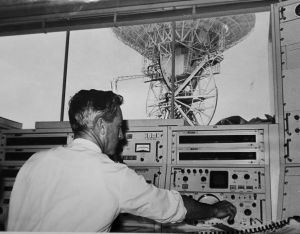 Barnard Schrivener at the controls of the antenna at Honeysuckle Creek in 1968.
