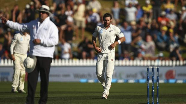 Doug Bracewell reacts after bowling Adam Voges off what was mistakenly called a no-ball.